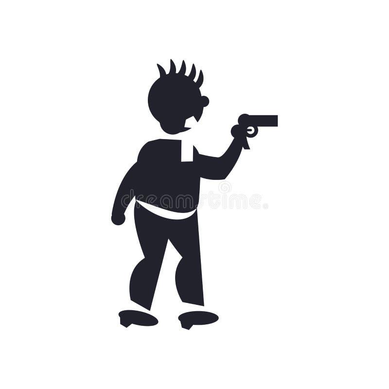 Уголовный знак и символ вектора значка вооруженного ограбления изолированные на белой предпосылке, уголовной концепции логотипа в бесплатная иллюстрация