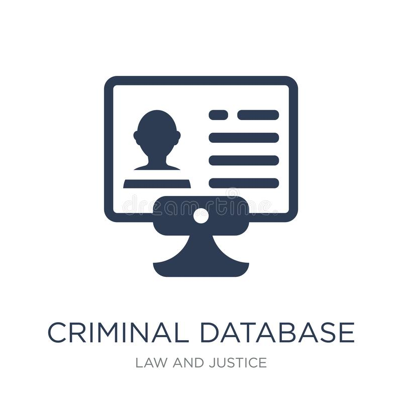 Уголовный значок базы данных Ico базы данных ультрамодного плоского вектора уголовное иллюстрация штока