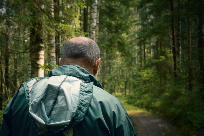 Уголовный и подозрительный человек в лесе стоковые фото
