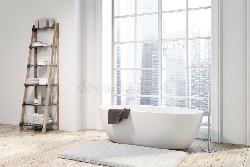 Угол ванной комнаты просторной квартиры, белый ушат, полки иллюстрация вектора