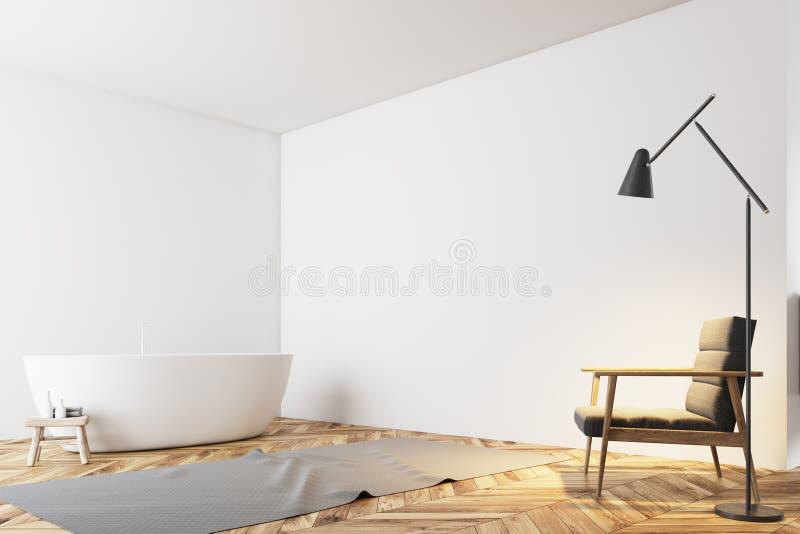 Угол ванной комнаты Minimalistic белый, кресло иллюстрация вектора
