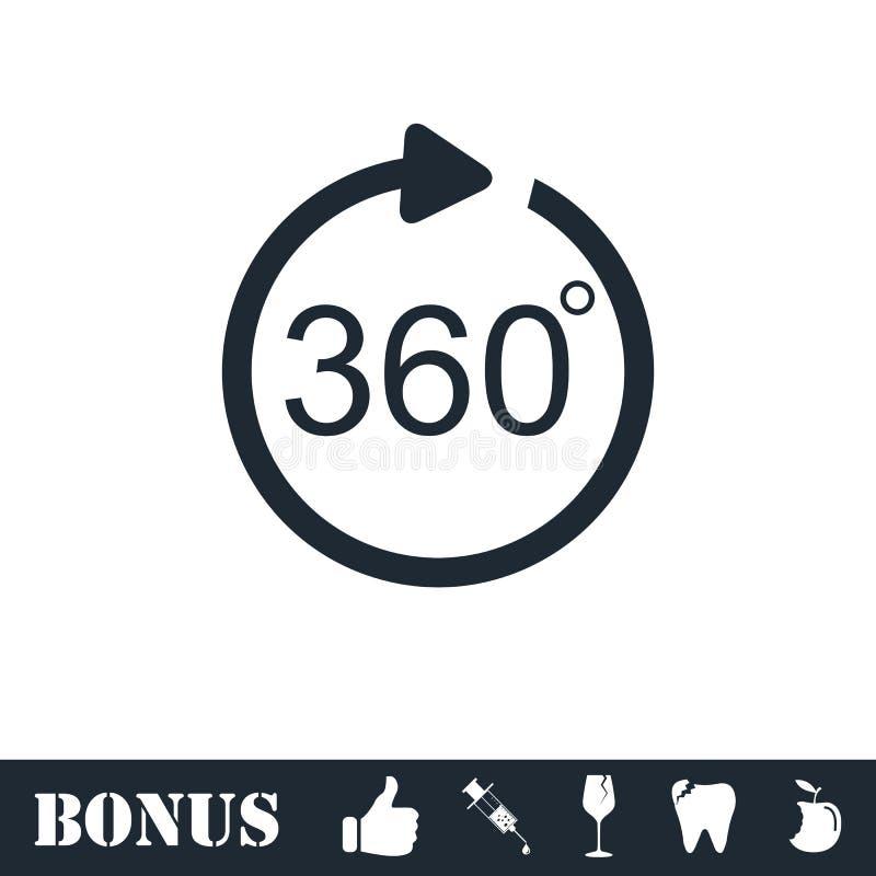 Угол 360 градусов значка плоско иллюстрация вектора