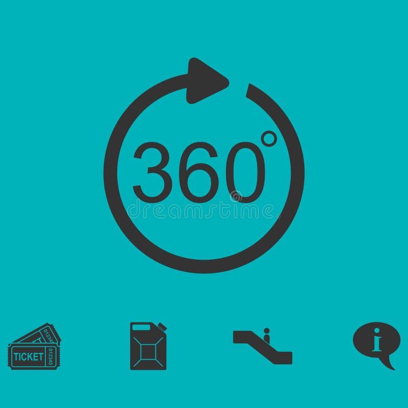 Угол 360 градусов значка плоско иллюстрация штока