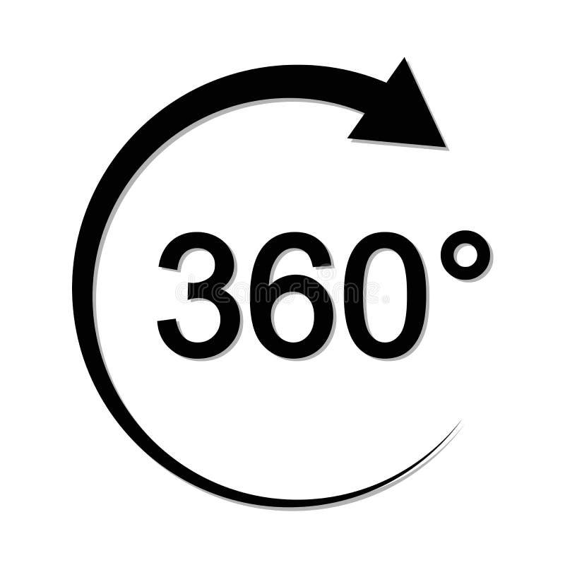 Угол 360 градусов подписывает символ математики геометрии значка иллюстрация штока