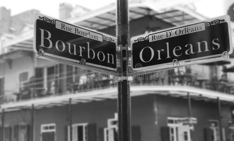 Угол улицы Бурбона стоковая фотография rf