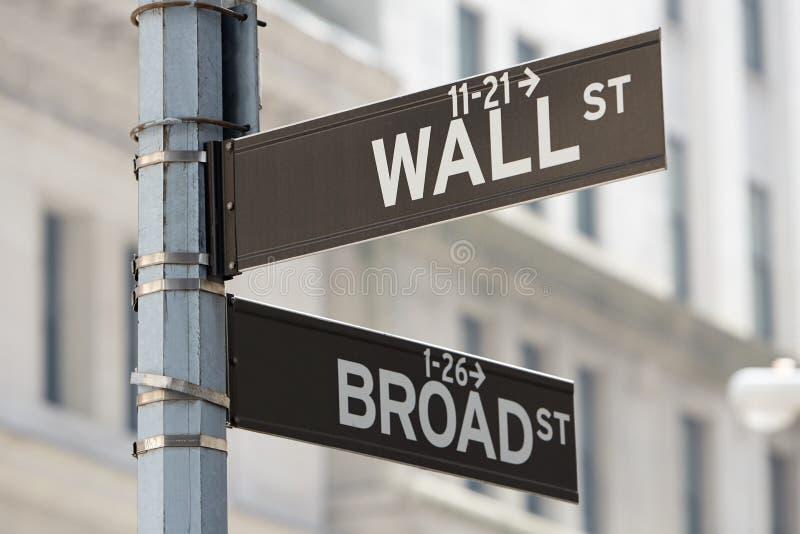 Угол Уолл-Стрита и обширной улицы подписывает около фондовой биржи в Нью-Йорке стоковая фотография rf