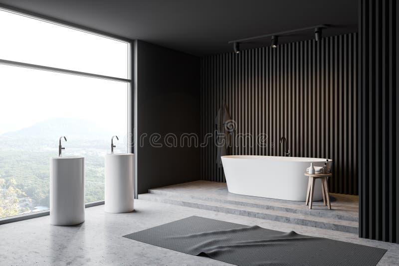 Угол, ушат и раковина bathroom просторной квартиры серые деревянные бесплатная иллюстрация