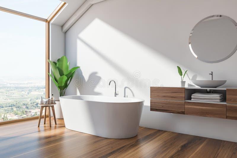 Угол, ушат и раковина bathroom просторной квартиры скандинавские иллюстрация штока