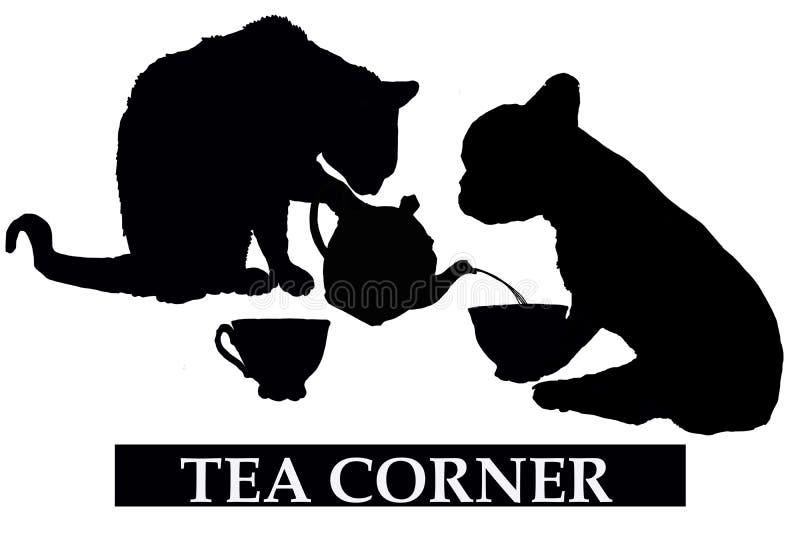 Угол чая с котом и собакой иллюстрация штока