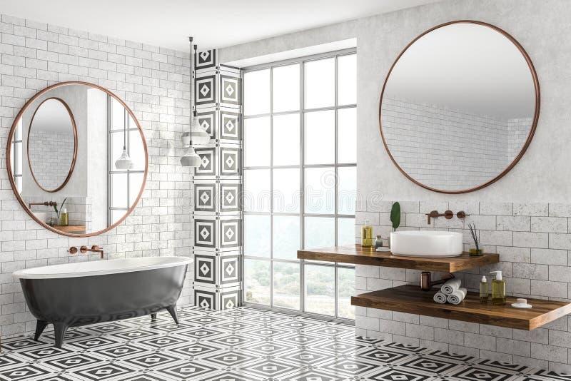 Угол bathroom кирпича, ушат и конец раковины вверх иллюстрация вектора