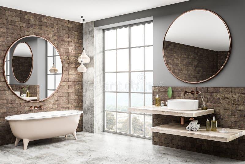 Угол bathroom кирпича, ушат и конец раковины вверх бесплатная иллюстрация