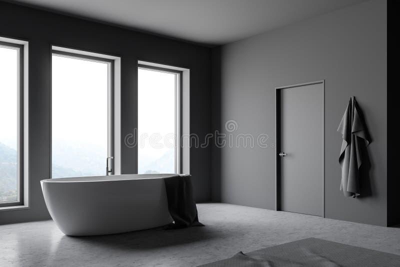 Угол bathroom просторной квартиры серый с ушатом иллюстрация штока