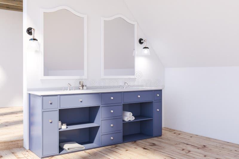Угол bathroom чердака, голубая двойная раковина бесплатная иллюстрация