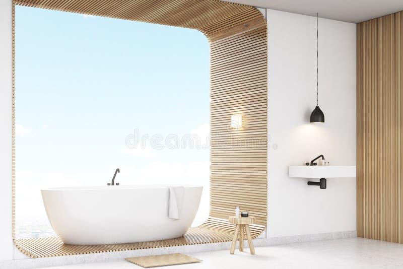 Угол белой ванной комнаты с древесиной иллюстрация вектора