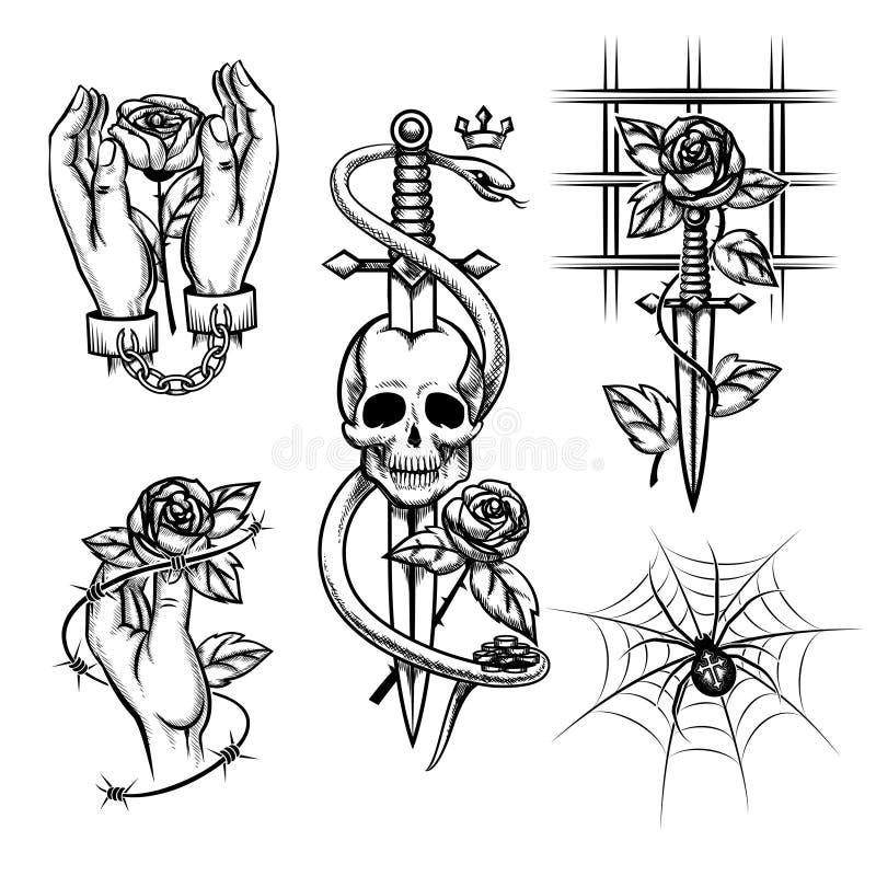 Уголовная татуировка Поднял в руки ножа позади иллюстрация штока