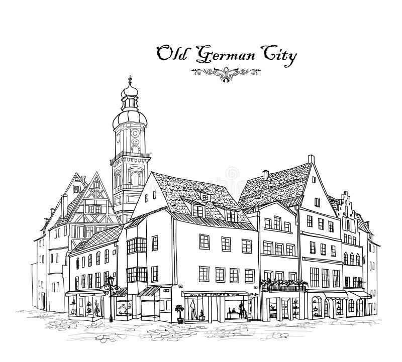 Угол улицы: здания, дом, кафе в старом городе Немецкий городской пейзаж иллюстрация штока
