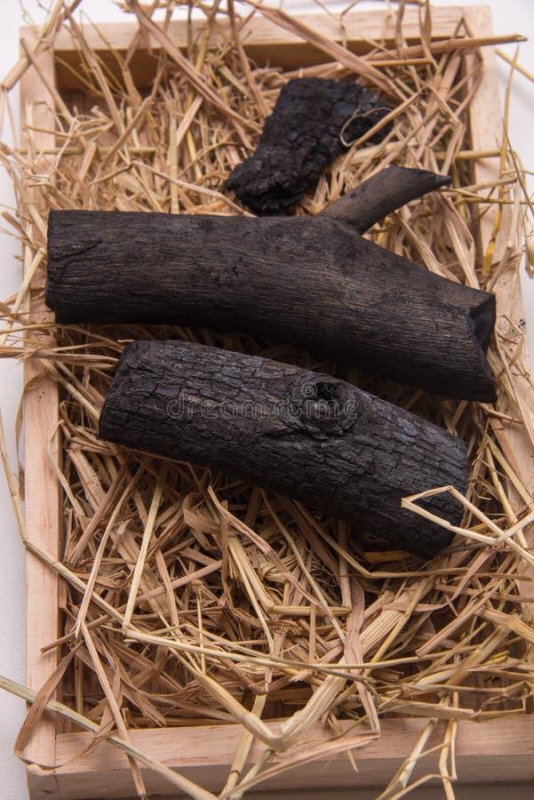 Уголь в гнезде соломы подноса стоковое фото