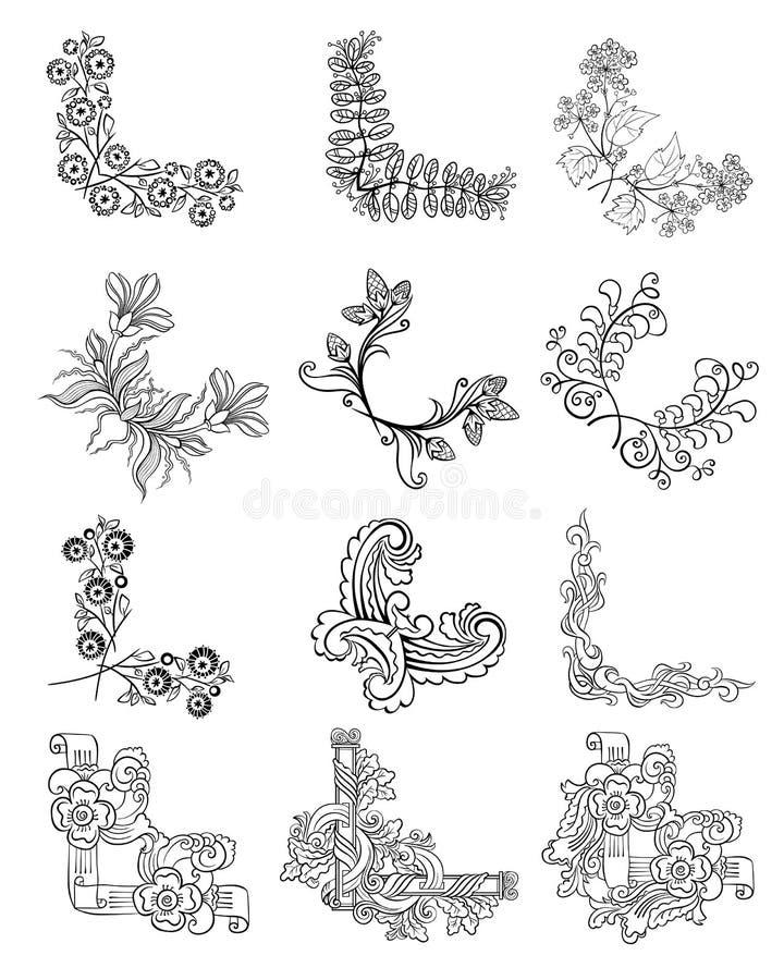 Угол эскиза декоративный флористический граничит собрание бесплатная иллюстрация