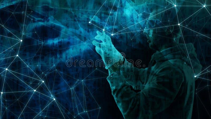 Угроза нападения Phishing, афера банка в космосе кибер, кодовых номерах компьютера бинарных иллюстрация вектора