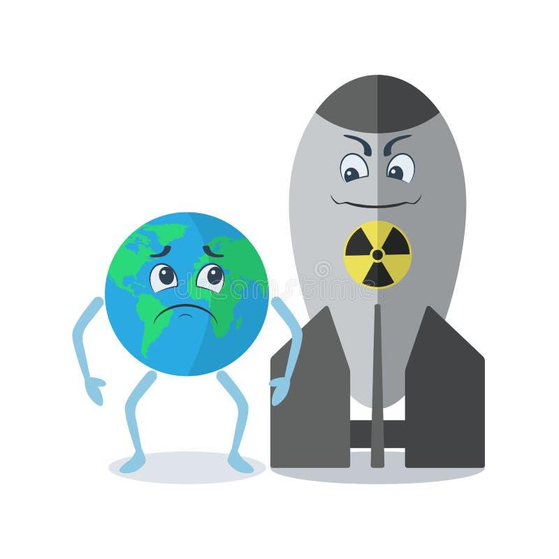 Угроза ядерной концепции конфликта в мире Земля персонажа из мультфильма с эмоцией страха вектора ядерного оружия иллюстрация вектора