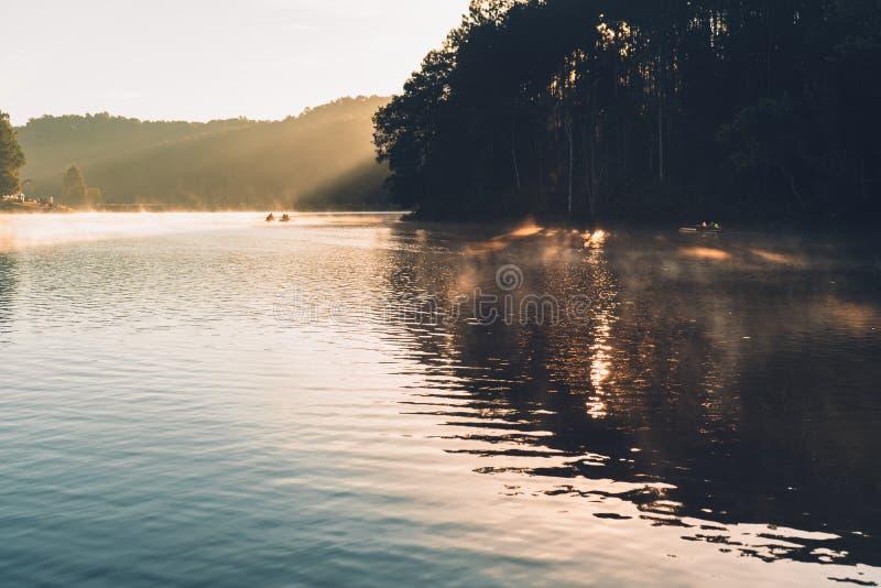 Угрызение Ung озер и лесов в утре стоковое изображение rf