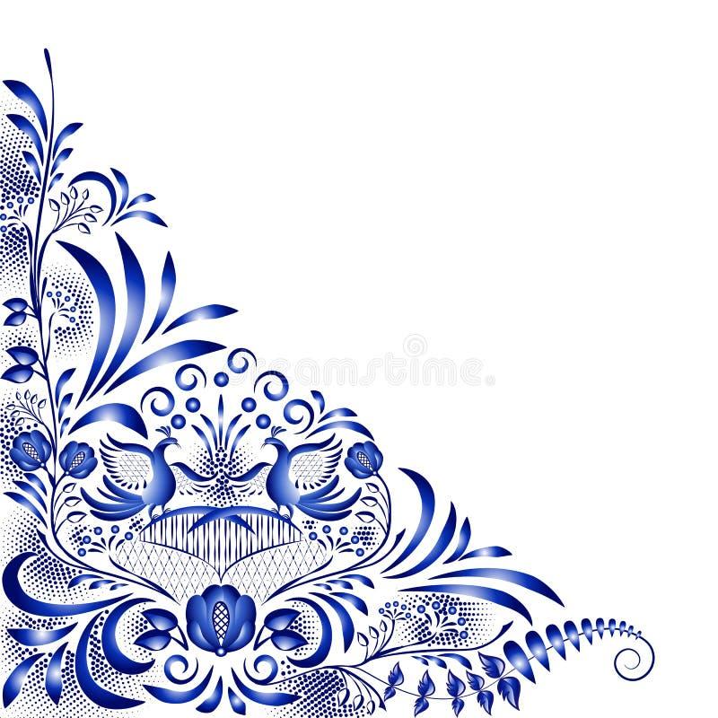Угловая голубая картина с птицами и цветками бесплатная иллюстрация