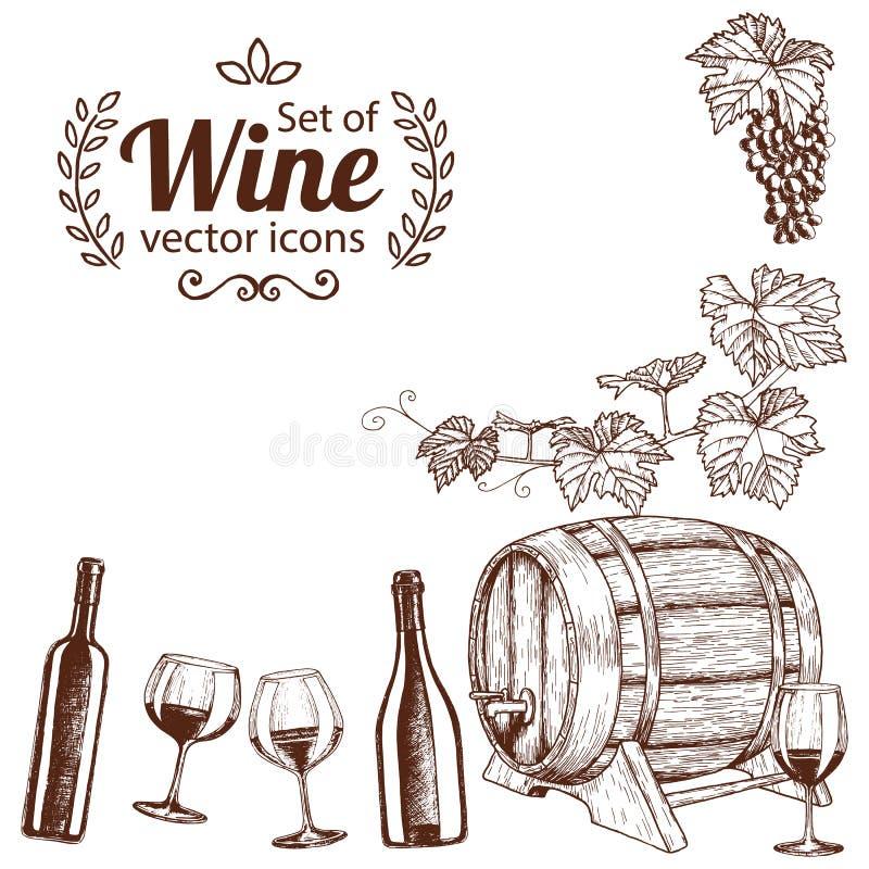 Угловая рамка значков вина эскиза иллюстрация вектора