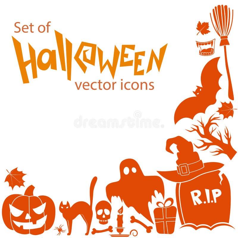 Угловая рамка значков хеллоуина иллюстрация штока