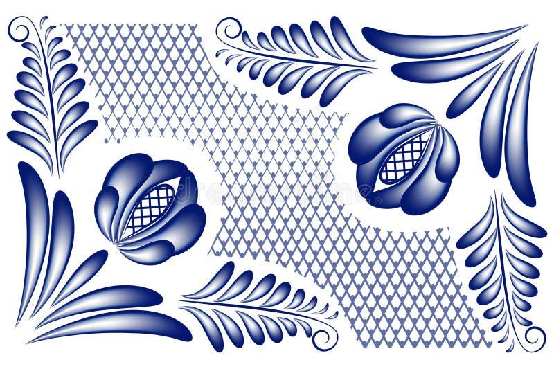 Угловое gzhel бесплатная иллюстрация