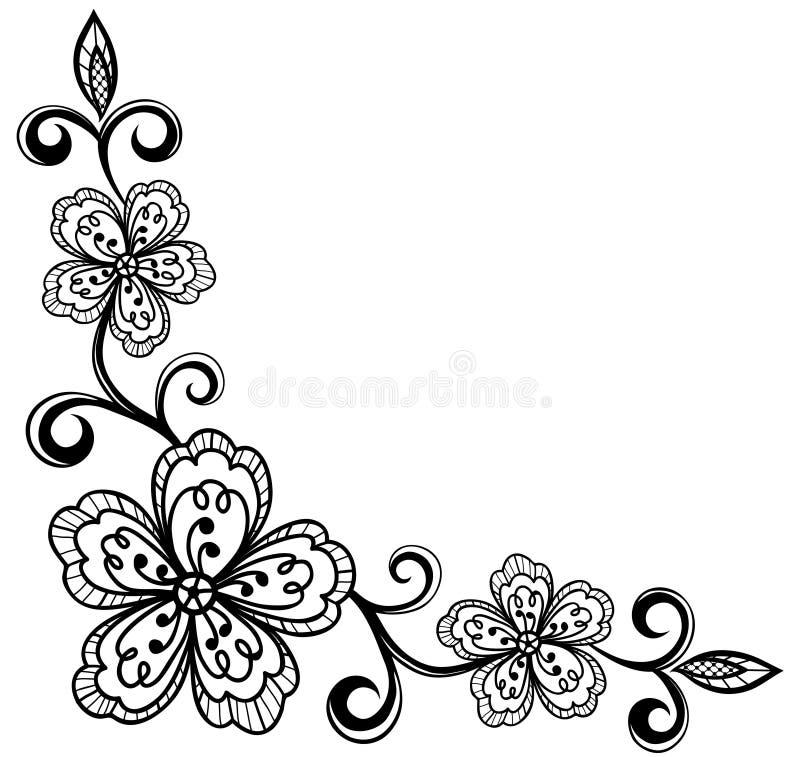 Угловойые орнаментальные цветки шнурка. светотенево. иллюстрация штока