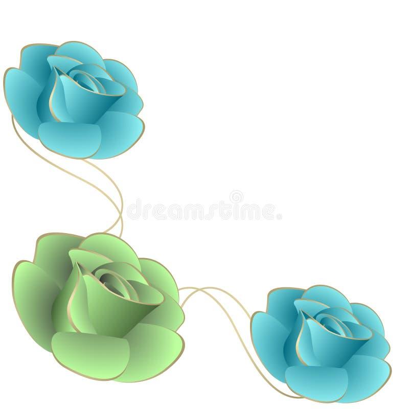 Угловой состав при розы, изолированные на белой предпосылке иллюстрация вектора