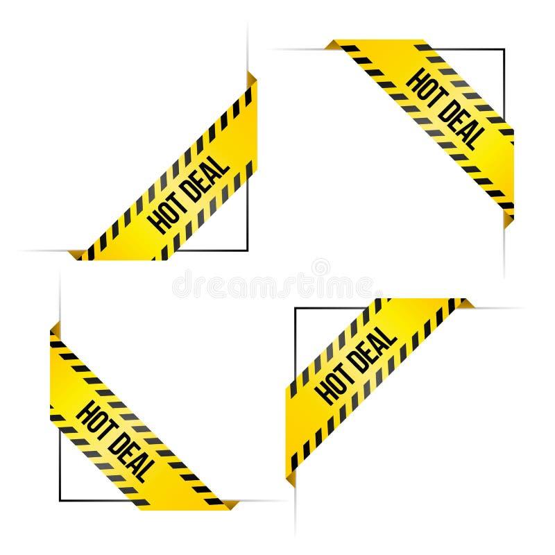 4 угловых ярлыка для онлайн магазина с ` дела ` слов горячим иллюстрация вектора