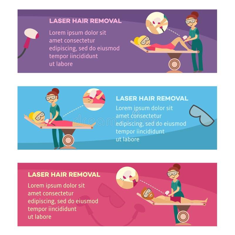 Удаление волос лазера в cosmetological установленных знаменах клиники или салона горизонтальных иллюстрация вектора