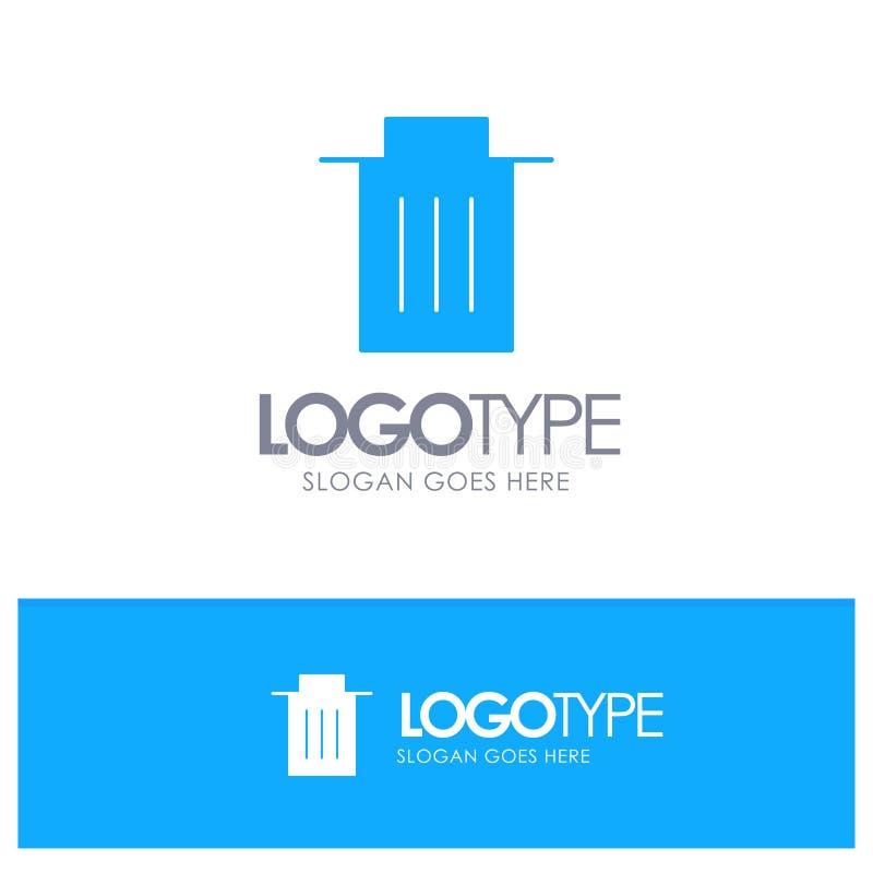 Удаление, интерфейс, погань, логотип потребителя голубой твердый с местом для слогана иллюстрация штока