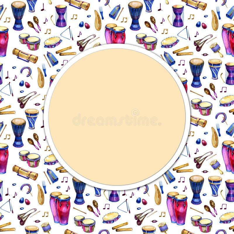 Ударные инструменты Круг заполненный с нарисованной рукой doodles этнических барабанчиков на белой предпосылке Рамка дизайна музы иллюстрация вектора