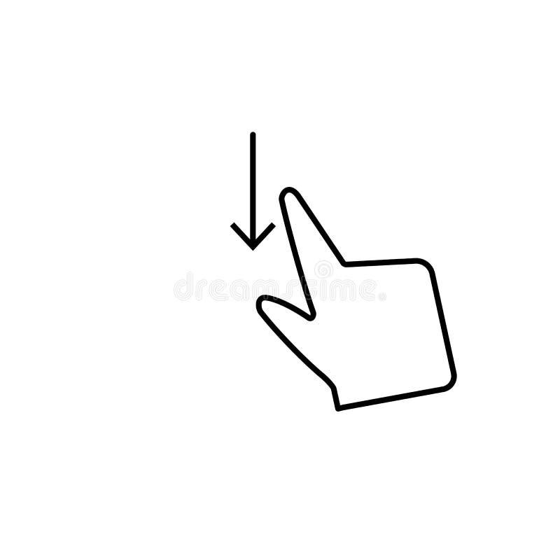 Удар вверх по свободному, касание, значок стрелок Элемент значка коррупции Тонкая линия значок на белой предпосылке бесплатная иллюстрация