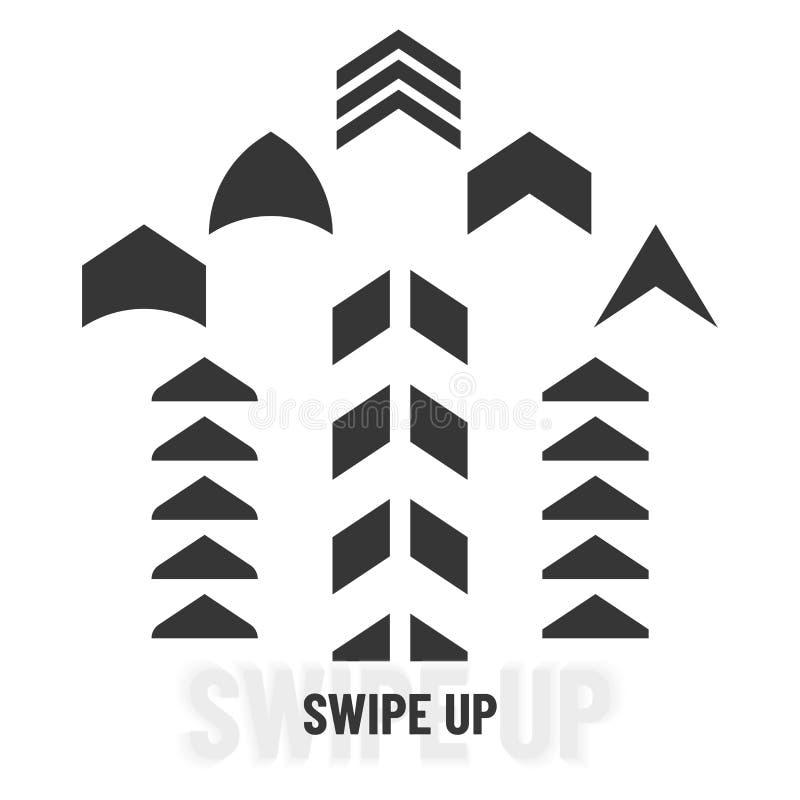 Удар вверх Черный следующий набор стрелок переченя Значки указателя символа цифров Средства массовой информации знака логотипа со бесплатная иллюстрация
