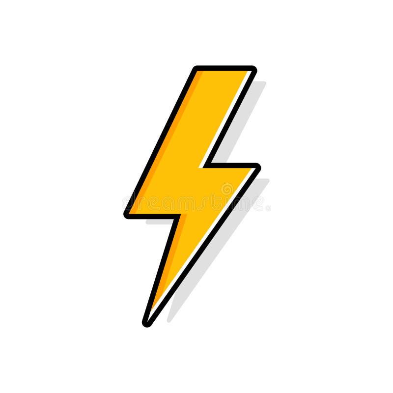 Удар молнии, болт грома, значок вектора экспертизы забастовки освещения плоский иллюстрация вектора