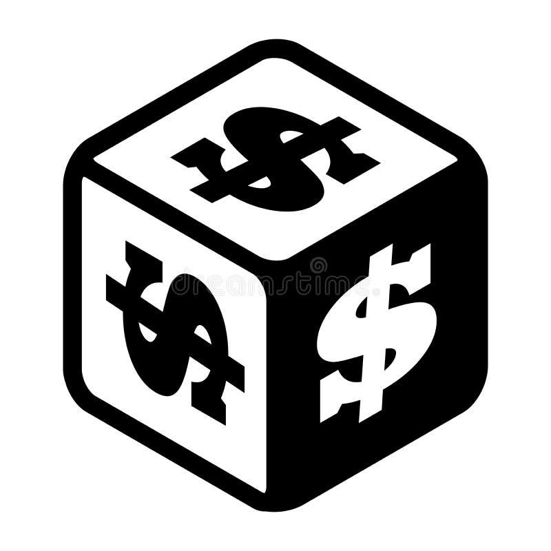Удачливая кость с знаками доллара на каждой стороне Значок большого символа денег плоский Черно-белая иллюстрация вектора изолиро бесплатная иллюстрация