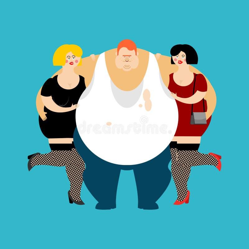Удачливые тучные парень и девушки Человек и женщины обжоры толстые vect fatso иллюстрация штока