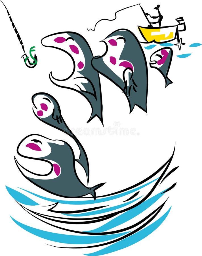 Удачливый рыболов иллюстрация штока