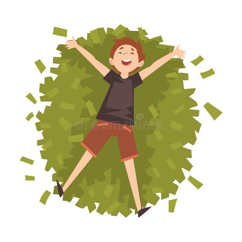 Удачливый успешный богатый миллионер Гай, счастливый состоятельный человек лежа на куче иллюстрации вектора денег бесплатная иллюстрация