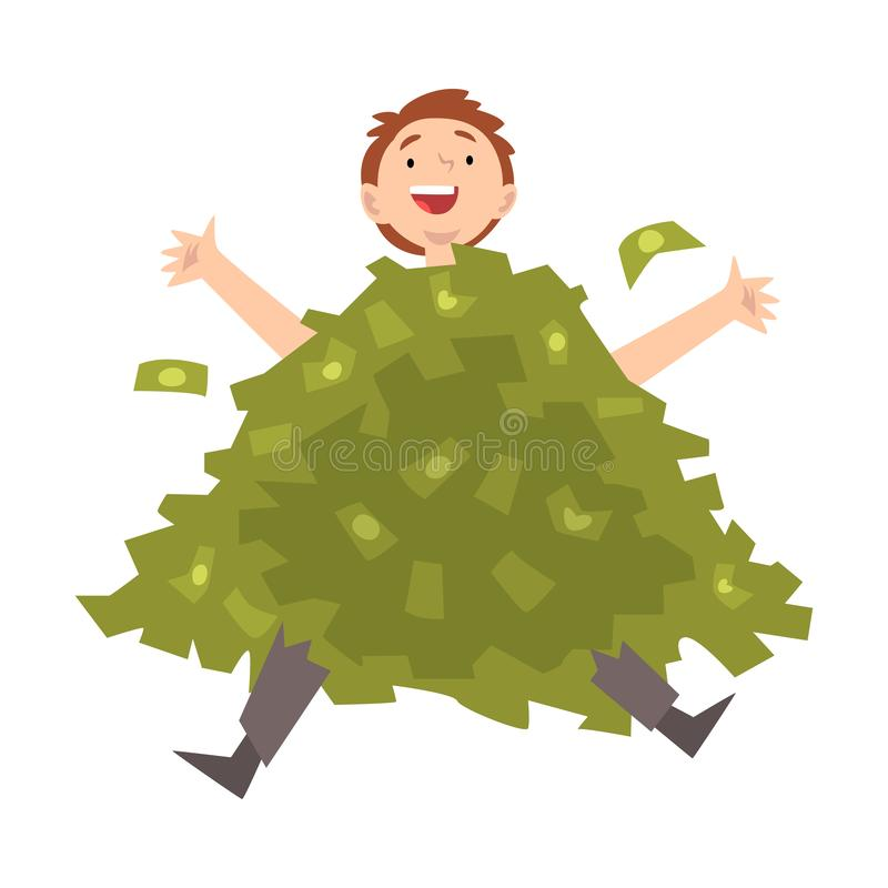 Удачливый успешный богатый миллионер Гай, счастливый состоятельный человек сидя в куче иллюстрации вектора денег бесплатная иллюстрация