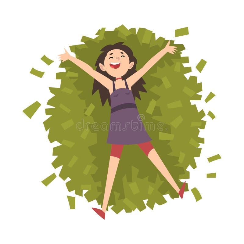 Удачливый успешный богатый миллионер девушки, счастливая состоятельная молодая женщина лежа на куче иллюстрации вектора денег иллюстрация штока