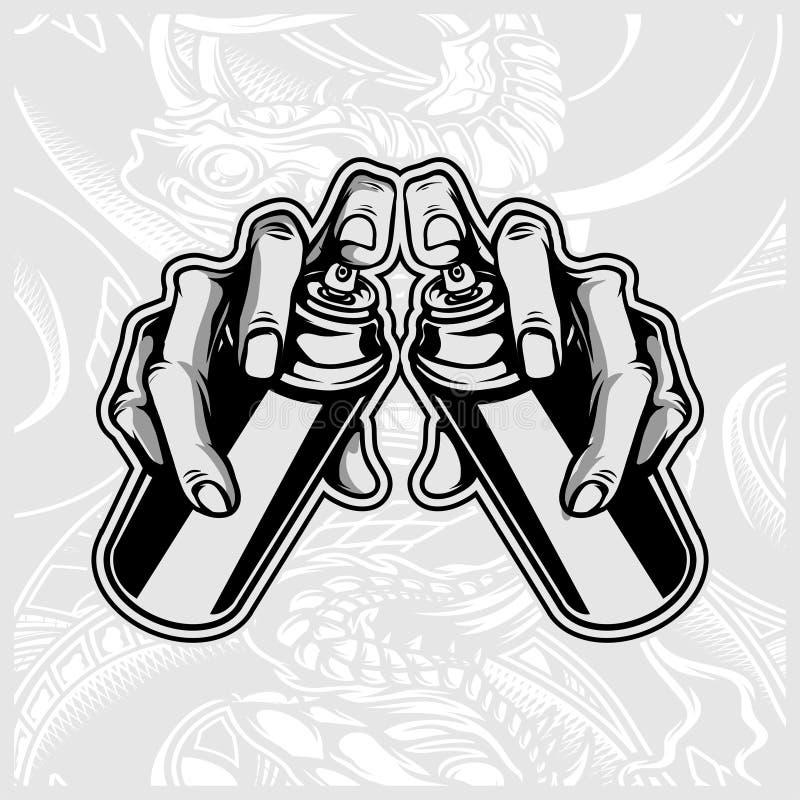 Удержание руки spay вектор граффити краски бесплатная иллюстрация