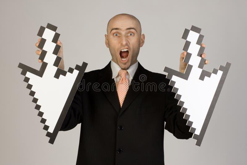 удерживание бизнесмена стрелок стоковое изображение