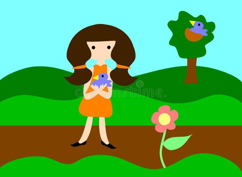 удерживание девушки птицы младенца голубое иллюстрация штока
