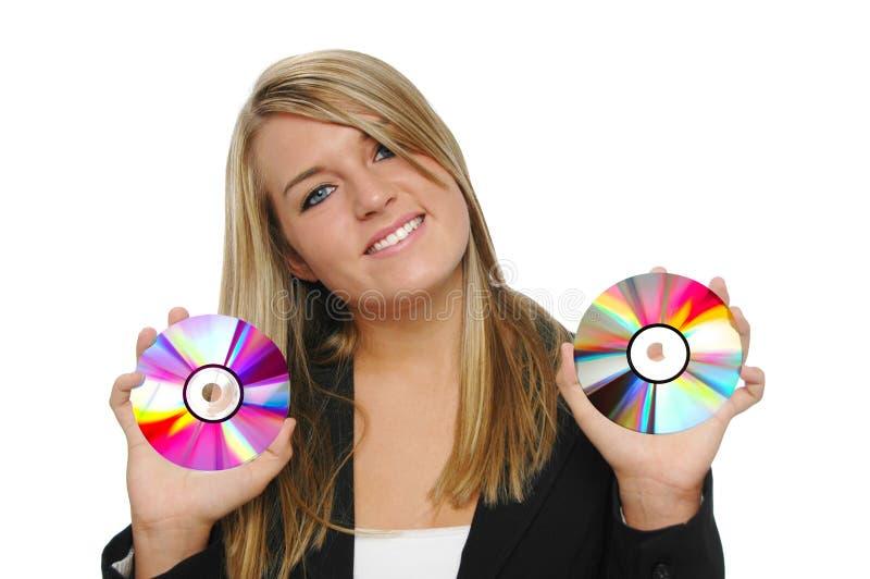 удерживание девушки cds предназначенное для подростков стоковые изображения