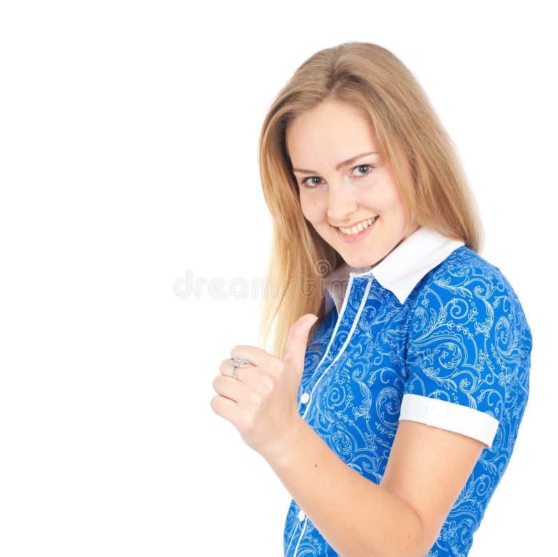 удерживание дела счастливое thumbs женщина стоковое фото rf