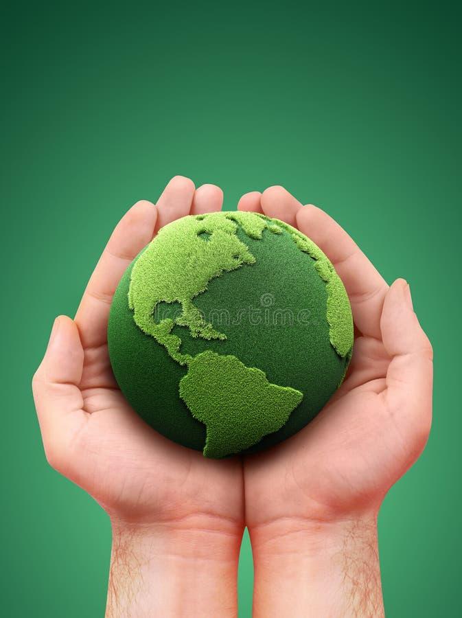 удерживание земли зеленое иллюстрация вектора